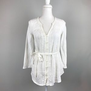 Meadow Rue white long sleeve blouse y-neck pleated